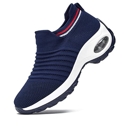 RDTRAVEL Women Walking Shoes Mesh Breathable Sock Sneakers Lightweight Comfort Slip On Fashion Sneakers Wedge Platform Loafers