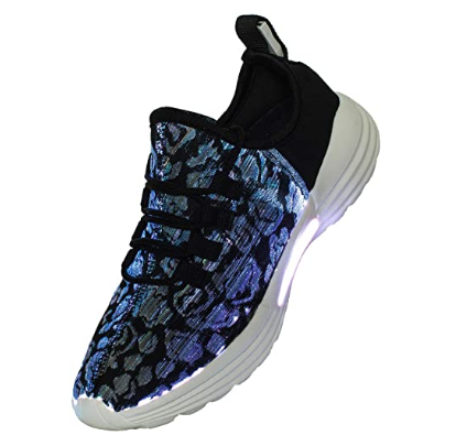 Mould King Fiber Optic Unisex LED Light Up Shoes for Women/Men with USB Charging, Light up Flashing Luminous Sneakers Fashion Gift for Festivals/Party/Show