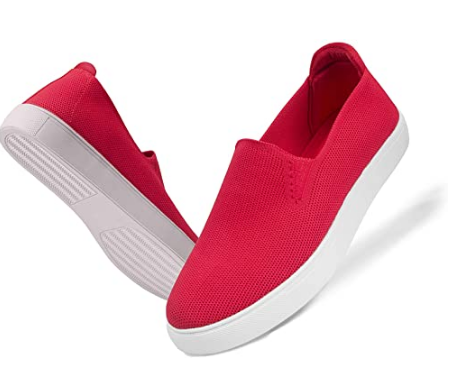 GENSHUO Women's Fashion Sneakers Loafers,Caucal Slip On Breathable Knit Loafer Flats Comfort Sneakers Daily Shoes
