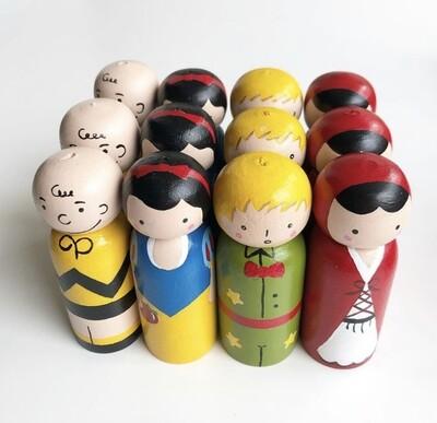 Peg Dolls-4 Pieces Hand Painted Peg Dolls-9 cm