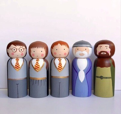 Hand Painted 5 Pieces Harry Potter Peg Doll Set