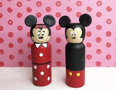 Mickey& Minnie Hand Painted Peg Dolls-9 cm