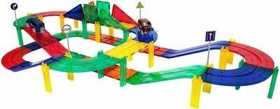 Magnetic Tiles Race Track 50-Piece Magnetic Building Block Set
