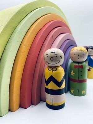 12 Pcs Large Wooden Pastel Color Rainbow Stacker