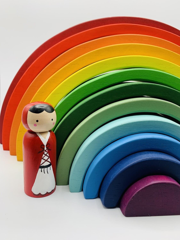 12 Pcs Large Wooden Rainbow Stacker
