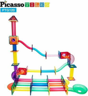 PicassoTiles Marble Run 120 Piece Magnetic Building Blocks