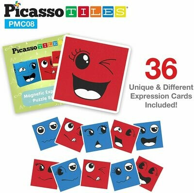 PicassoTiles Magnetic Expression Puzzle Cube Blocks 8 Piece Mix & Match Cubes Sensory Toys