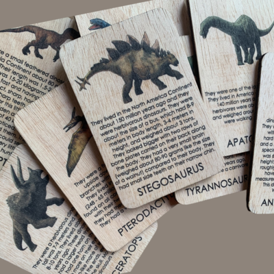 Wooden Dinosaurs Cards
