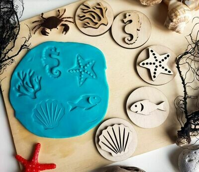 Handcrafted Wooden Play Dough Tools - Wooden Stamps- Summer beach themed