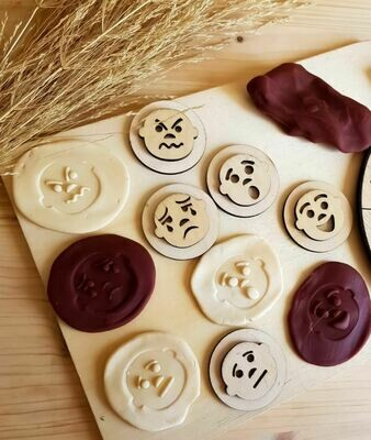 Handcrafted Wooden Play Dough Tools - Wooden Stamps- Feelings themed