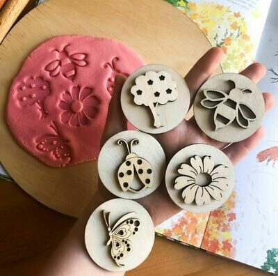Handcrafted Wooden Play Dough Tools - Wooden Stamps- Nature themed