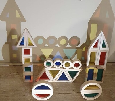 Rainbow Geometric Blocks (24 Pieces)