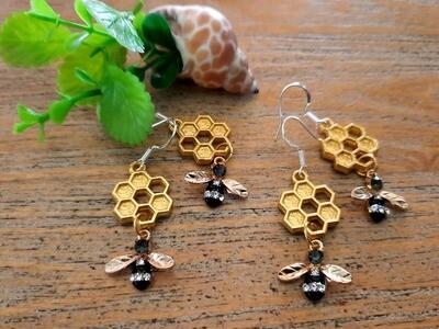 Earrings: Honeycomb