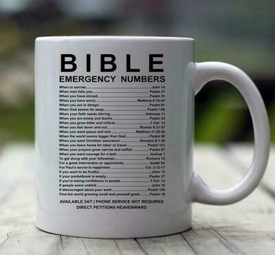 Bible Emergency Numbers 15 oz White Mug