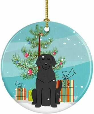 Black Labrador Christmas Circle Ceramic Ornament