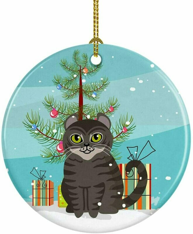 Cat Christmas Circle Ceramic Ornament