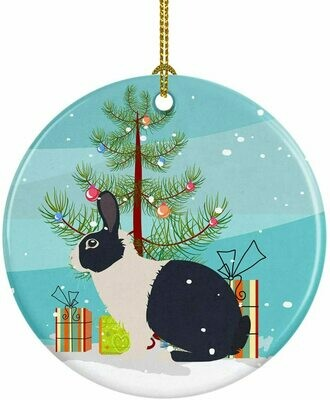 Rabbit Christmas Circle Ceramic Ornament