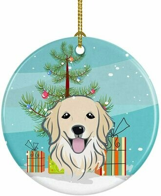 Golden Retriever Christmas Circle Ceramic Ornament
