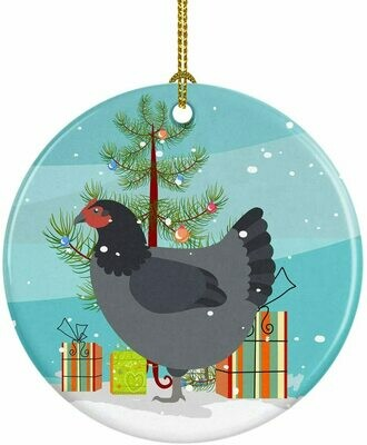 Chicken Christmas Circle Ceramic Ornament