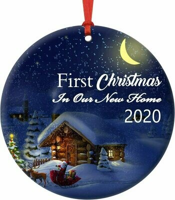 First Christmas Circle Ceramic Ornament 2020