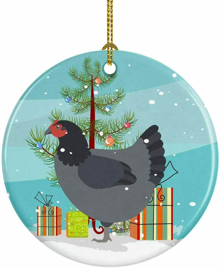 Chicken Christmas Circle Ceramic Ornament