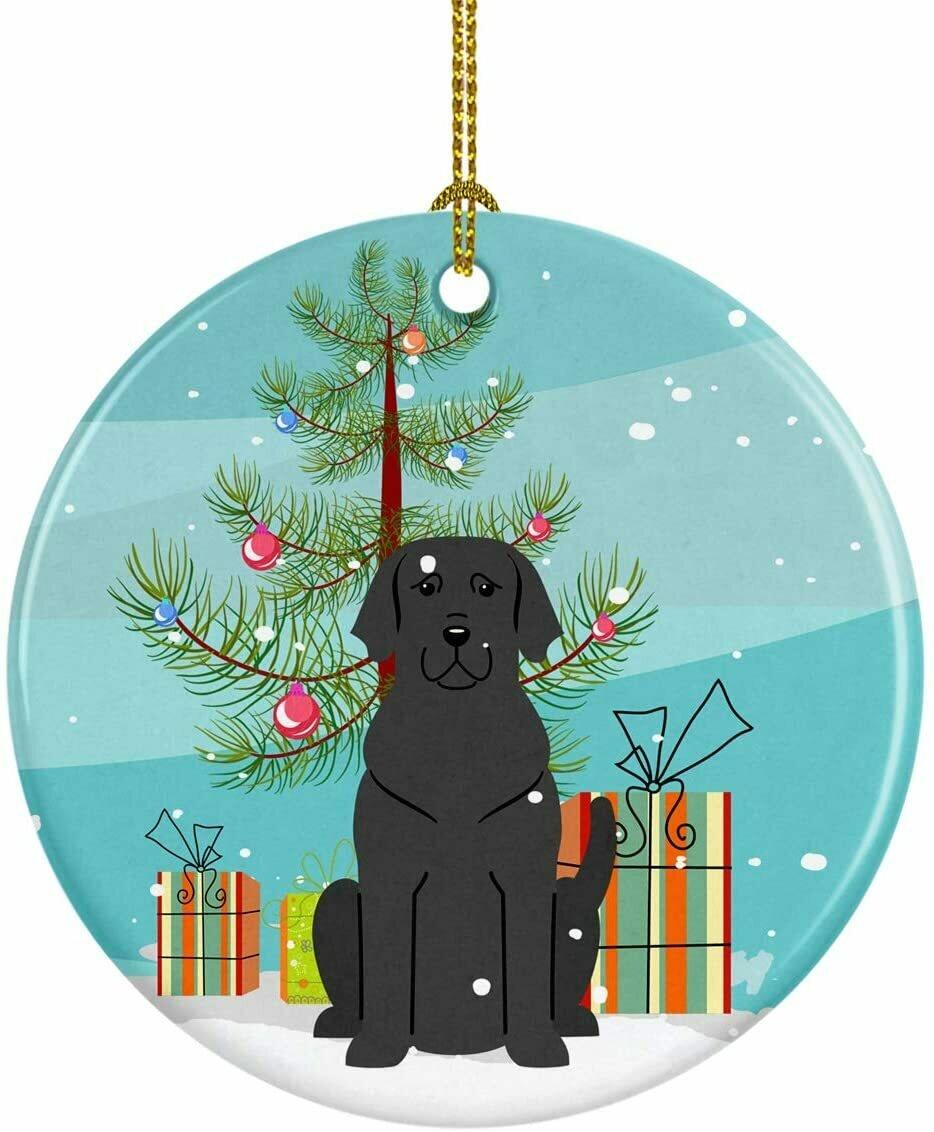Black Labrador Christmas Circle Ceramic Ornament