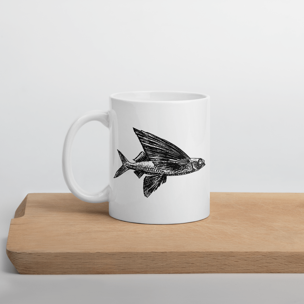 Flying Fish 15 oz Ceramic Mug - White Color