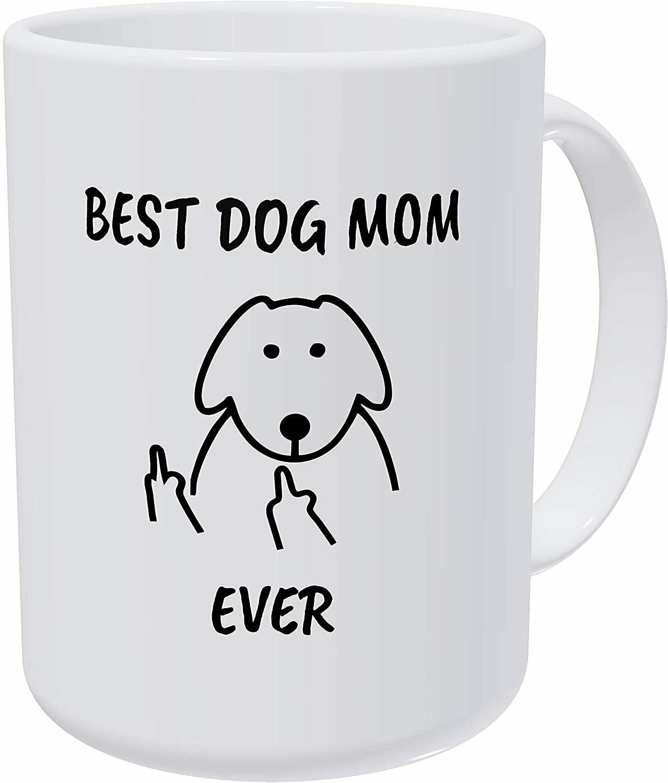 Best dog mom ever 15 oz ceramic mug - White Color