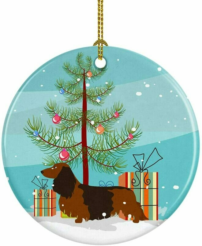 Dachshund Christmas Circle Ceramic Ornament