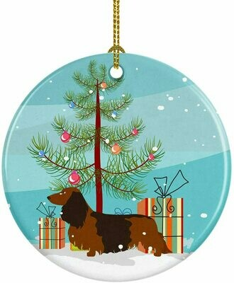 Dachshund Christmas Circle Ceramic Ornament