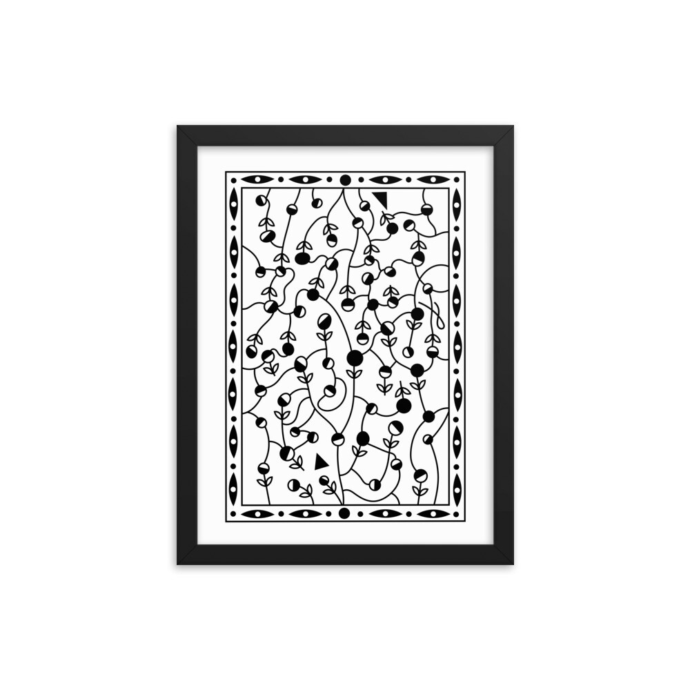 Flower Tangle Maze - Framed poster