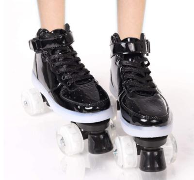 Classic Roller Skates, Adult High-Top Roller Skates, Indoor Outdoor Quad Skates, Ladies Shiny Roller Skates