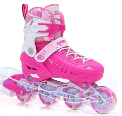 BAND Dream Taiji Children's Adjustable Inline Skates, 8 Flashing Wheels, Boys, Girls, Fun Beginner Indoor and Outdoor Lighting Roller Skates, Fun Roller Skates, Blue, Pink