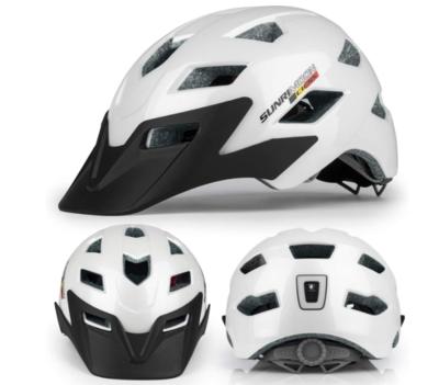 SUNRIMOON Kids Youth Bike Helmet Lightweight Large Vents Sun Visor Rechargeable LED Rear Light Adjustable MTB Boys Girls Helmet 54-57cm