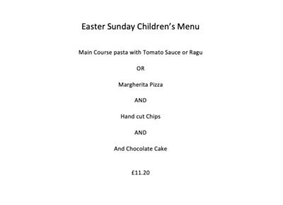 Children's Easter Sunday Menu