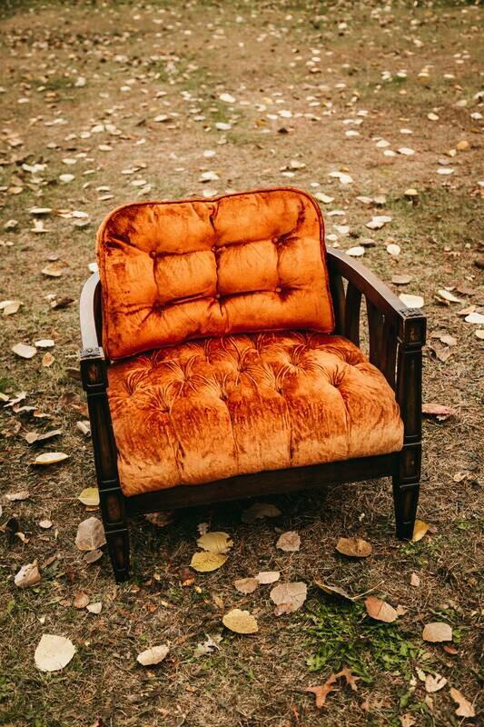 Orange Velvet Chair