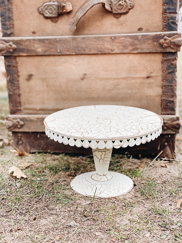 Cream Distressed Metal Cake Stand