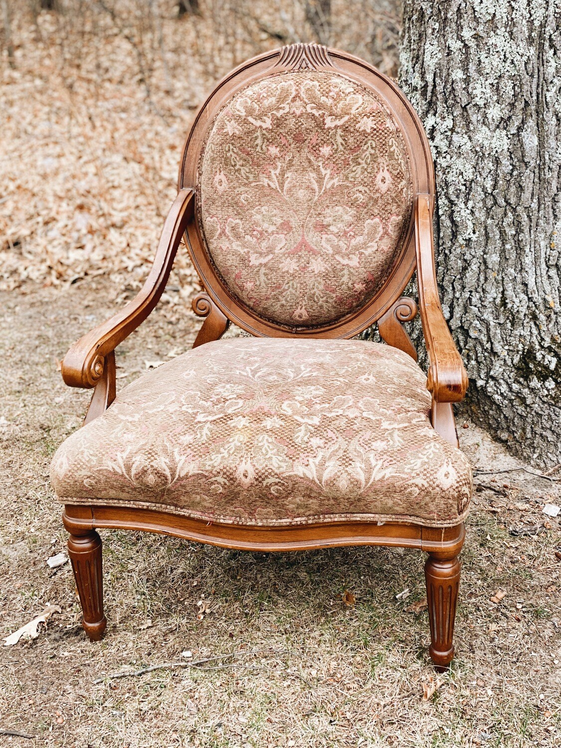 Maroon and Brown Chair