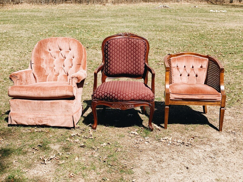 Pink and Maroon Cushion Chairs