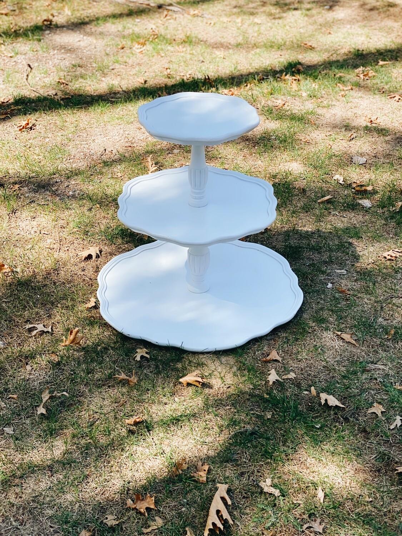 3 Tiered White Wood Dessert Stand