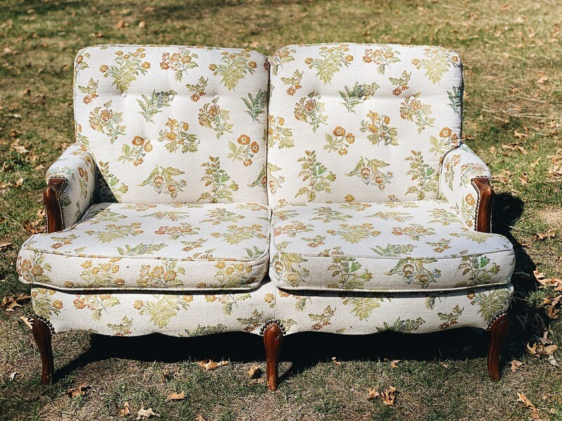 Green and Gold Floral Loveseat