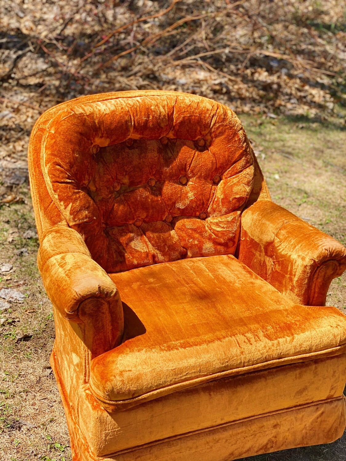 Orange Velvet Cushion Chair