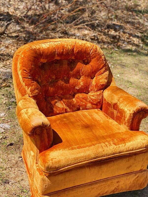 Orange Velvet Cushion Chair