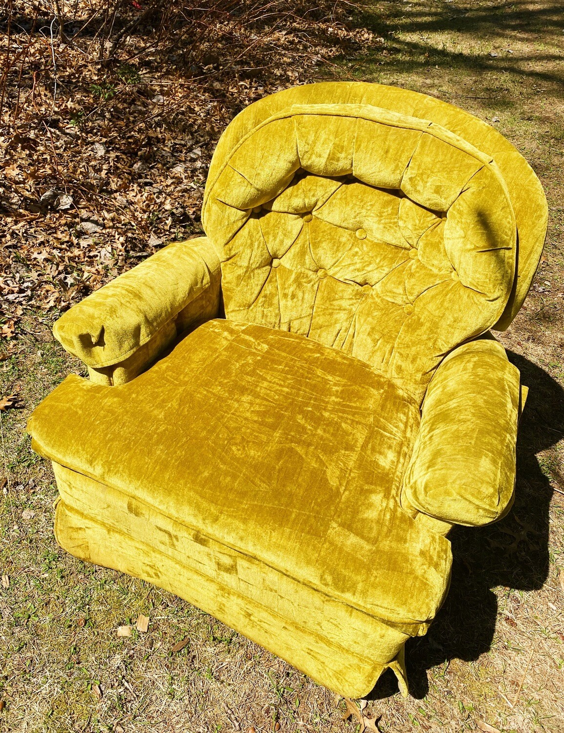 Yellow Velvet Cushion Chair