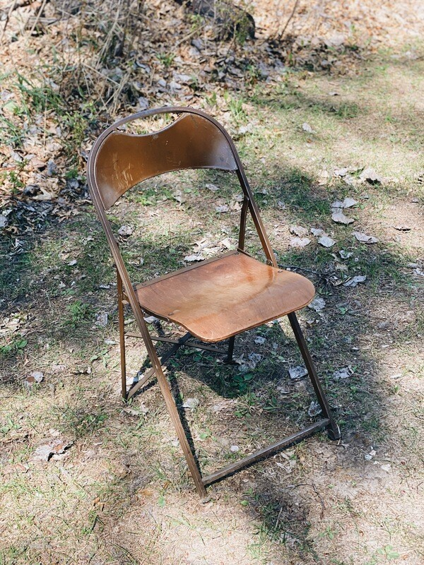 Metal and Wood a Folding Chairs