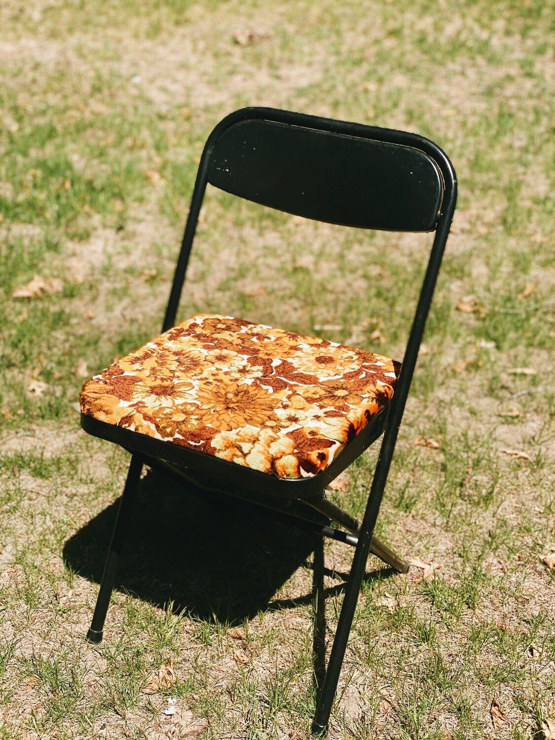 Metal and Floral Folding Chairs