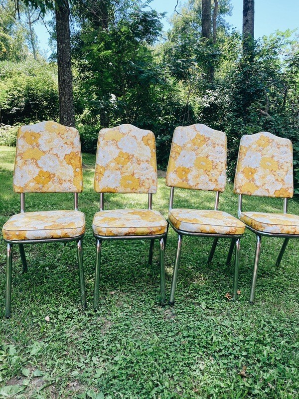 Golden Floral Retro Chairs