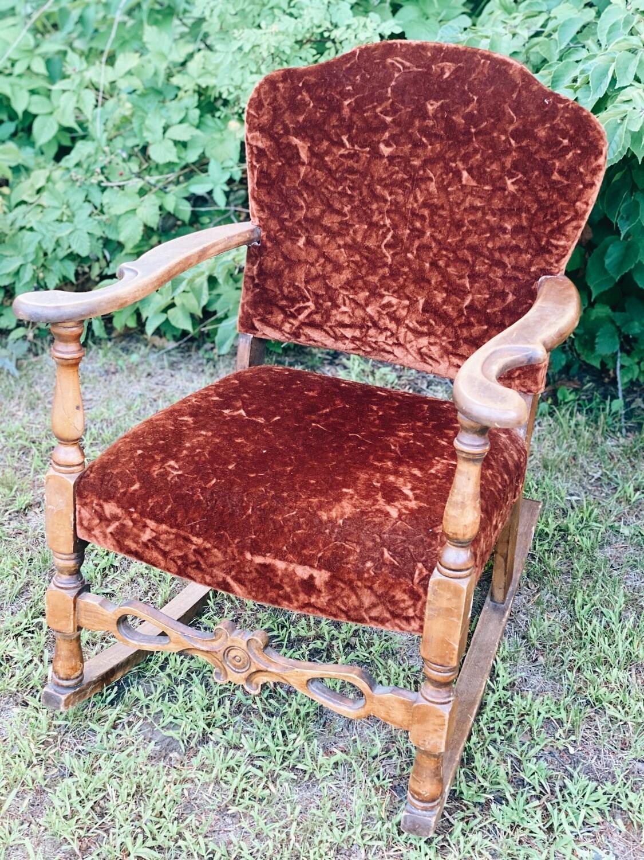 Burnt Orange Velvet Chair