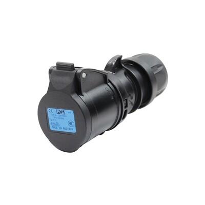 PCE 16A 230V 2P+E Plug (Midnight Black)