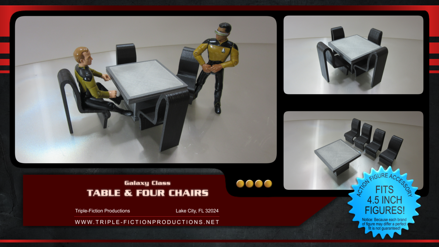 """Galaxy Class - 4.5"""" Scale - Table & Four Chairs"""